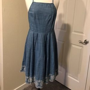 Denim Dress with Embroidered Trim